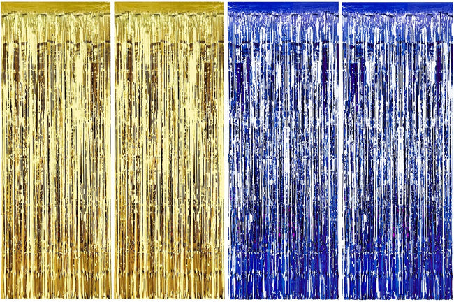 4 Packs 3ft x 6ft Blue Gold Metallic Tinsel Foil Fringe Curtains Photo Booth Props for Birthday Wedding Engagement Bridal Shower Baby Shower Bachelorette Holiday Celebration Party Decorations
