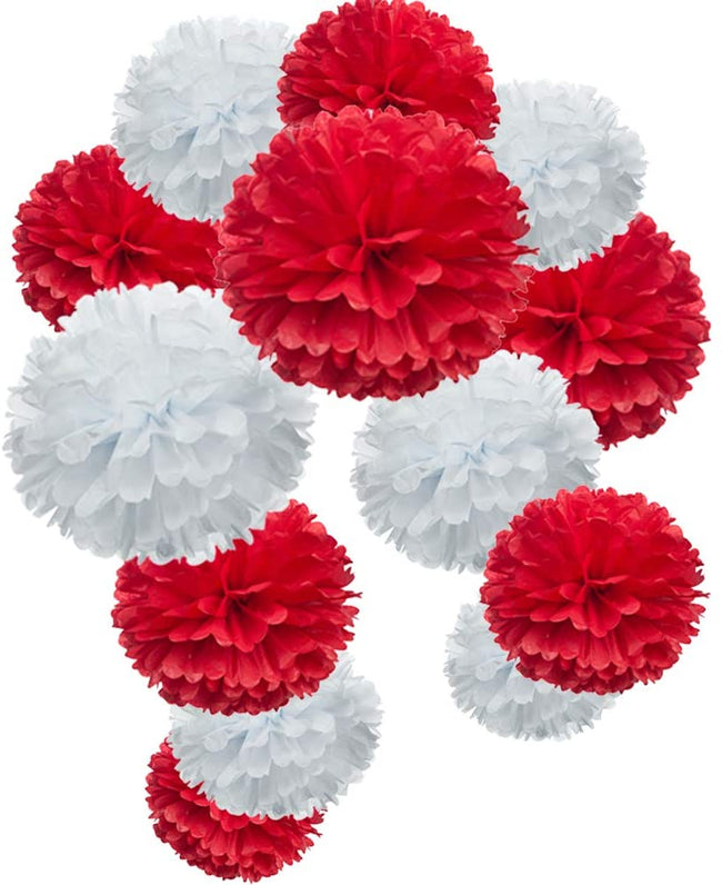 """Red and White""  Pom Pom flower Decoration  for birthday parties, Anniversary party & baby shower"