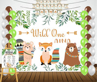 """Personalized Complete Kit - """"Wild One"""" Theme -Backdrop ,Banner and Chalkboard with Baby Name"""