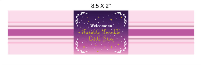 """TWINKLE TWINKLE LITTLE STAR ""-GIRL BIRTHDAY WATER BOTTLE STICKER (PACK OF 10)"