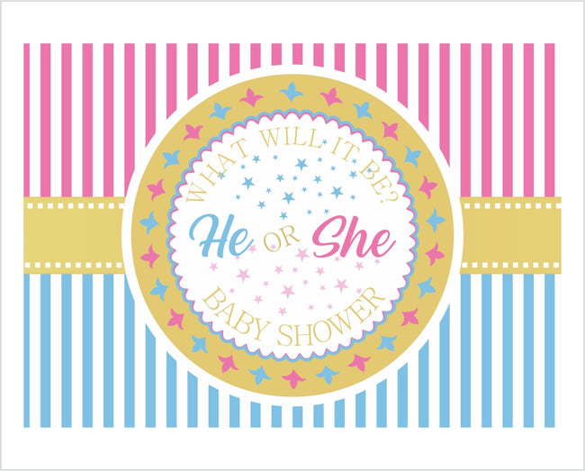 """Blue Or Pink""- BABY SHOWER PARTY BACKDROP FOR PHOTOGRAPHY BANNER KIDS EVENT CAKE TABLE DECOR HOME DECORATION PHOTO BOOTH BACKGROUND"