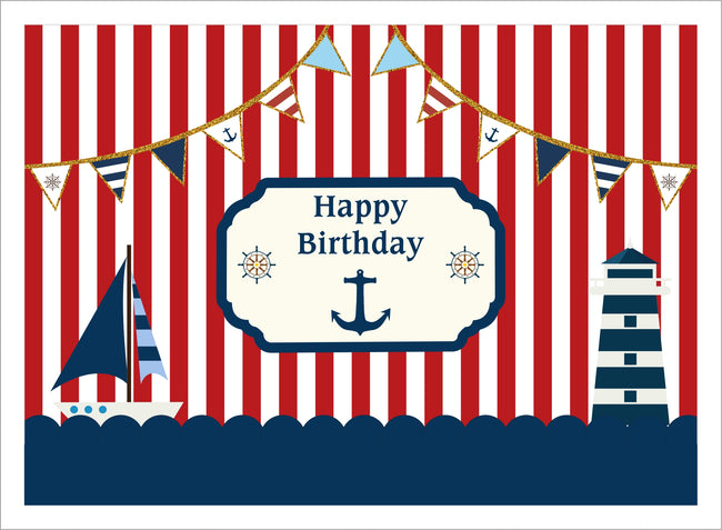Nautical-Ahoy BIRTHDAY PARTY BACKDROP FOR PHOTOGRAPHY BANNER KIDS EVENT CAKE TABLE DECOR HOME DECORATION PHOTO BOOTH BACKGROUND