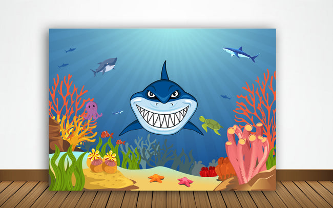 Shark Party BIRTHDAY PARTY BACKDROP FOR PHOTOGRAPHY BANNER KIDS EVENT CAKE TABLE DECOR HOME DECORATION PHOTO BOOTH BACKGROUND