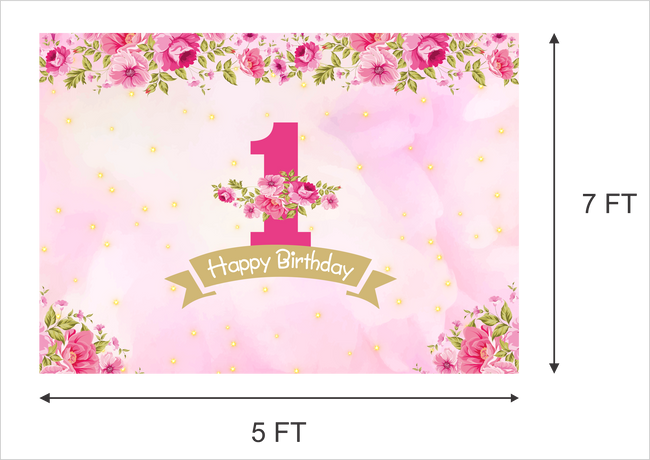 """ONE IS FUN"" -GIRL BIRTHDAY PARTY BACKDROP FOR PHOTOGRAPHY 1ST FIRST PINK BANNER GIRL  KIDS EVENT CAKE TABLE DECOR HOME DECORATION PHOTO BOOTH BACKGROUND"