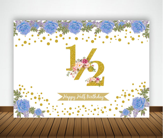 1/2  BIRTHDAY PARTY BACKDROP FOR PHOTOGRAPHY BANNER KIDS EVENT CAKE TABLE DECOR HOME DECORATION PHOTO BOOTH BACKGROUND