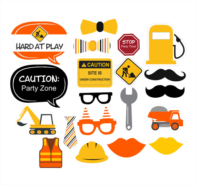 Construction - 20 Piece 1st Birthday Party Photo Booth Props Kit