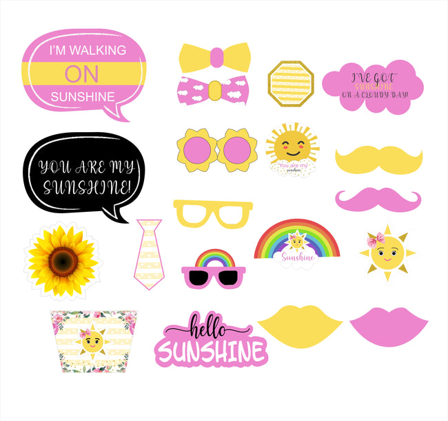 Sunshine Theme Birthday Party Photo Booth Props Kit- Pack of 20