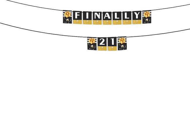 """Finally 21 "" Birthday Banner For Decoration Milestone 21st Birthday"
