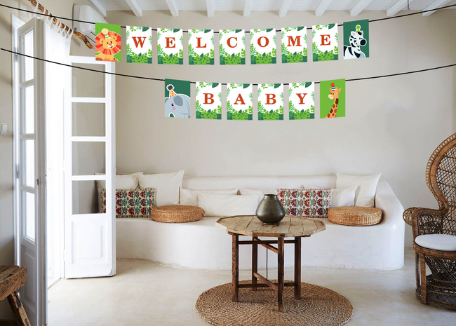 Wild Safari  Baby Welcome Banner For Decoration - Welcome Baby Banner