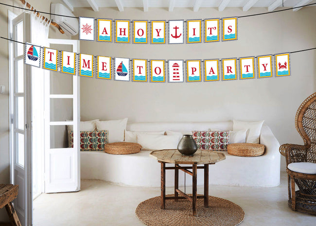 Nautical-Ahoy Birthday Banner For Decoration - Ahoy It's Time To Party