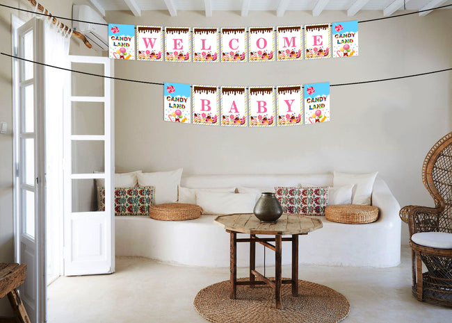 Candy Land Banner for birthday decoration I Happy Birthday Banner