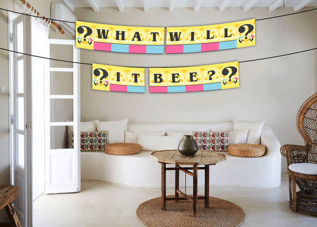 """What Will It Bee "" Banner- Baby Shower Decoration"