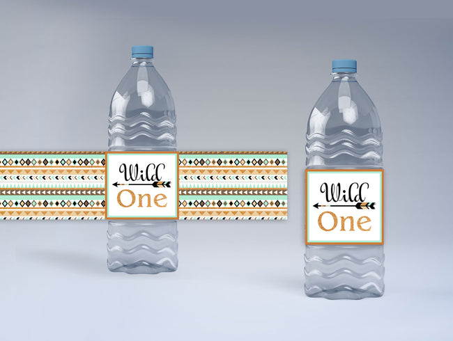 """Wild One"" Theme - Birthday Party Water Bottle Sticker Labels( Set of 10)"