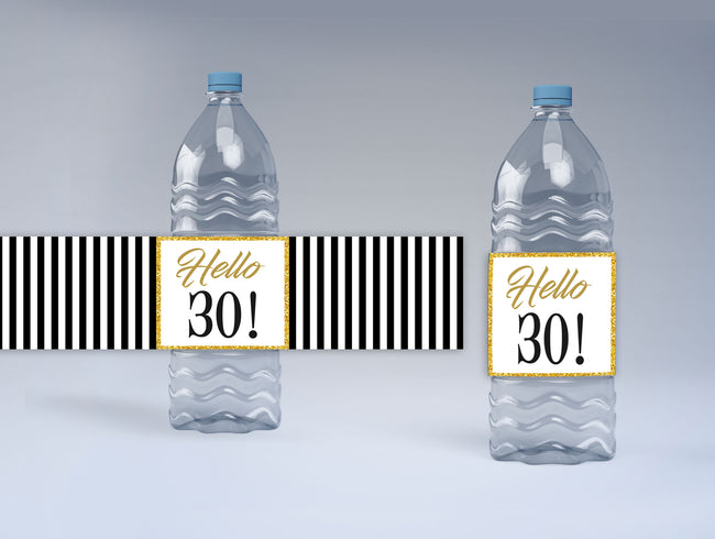 30th Birthday Party Water Bottle Sticker Labels ( Set of 10)
