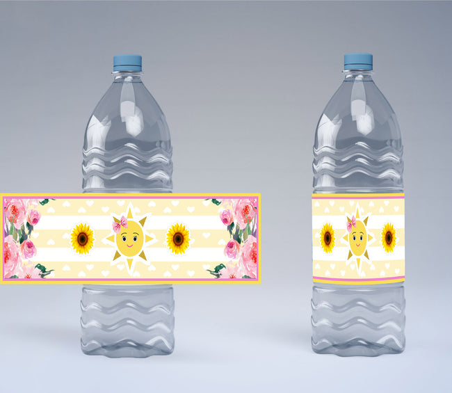 SUNSHINE THEME BIRTHDAY PARTY/BABY WELCOME - WATER BOTTLE STICKER LABELS (SET OF 10)