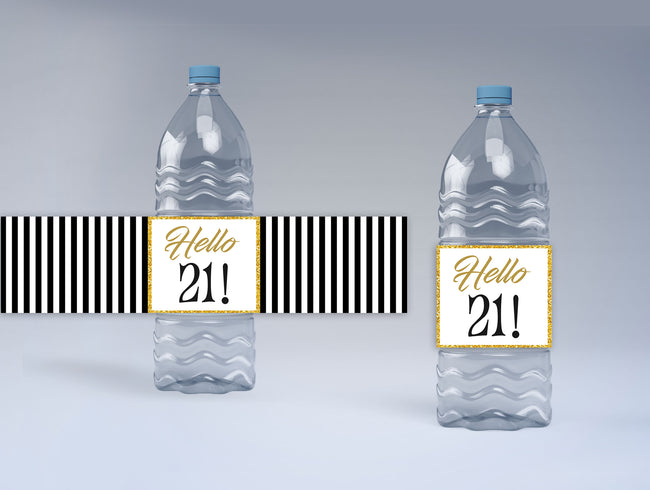 21st Birthday Party Water Bottle Sticker Labels ( Set of 10)