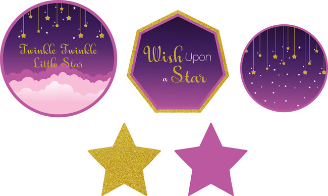 """TWINKLE TWINKLE LITTLE STAR ""-GIRLS BIRTHDAY CUTOUT DECORATION (PACK OF 5)"