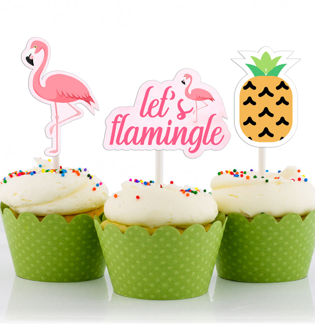 Let's Flamingo CUP CAKE TOPPER GIRL BIRTHDAY DECORATION-Pack of 12