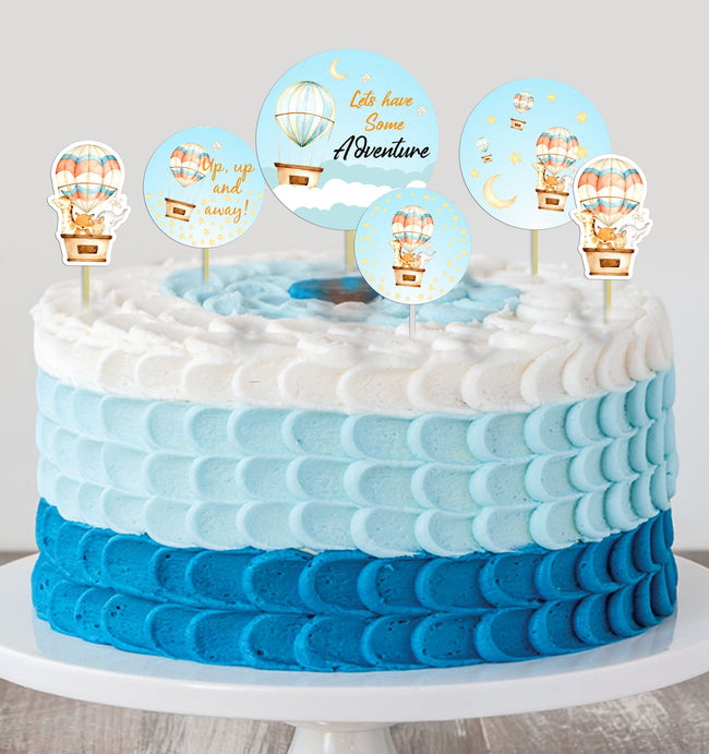Up Up And Away - Hot Air Theme Cake Topper for Birthday Party