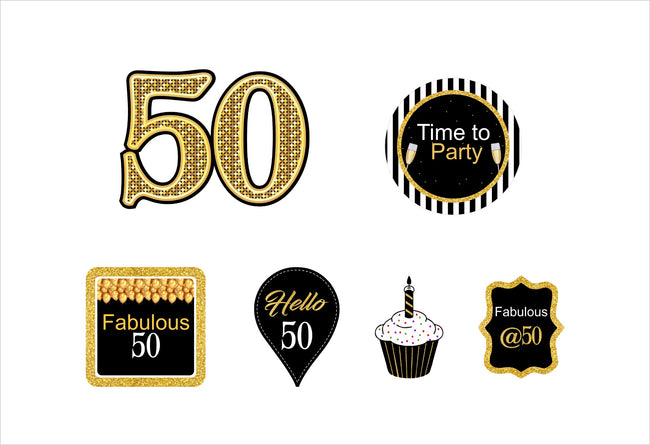 50th Milestone CUP CAKE TOPPER BIRTHDAY DECORATION (Pack of 12)