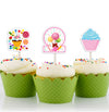CANDY LAND CUP CAKE TOPPER GIRL BIRTHDAY DECORATION - Pack of 12