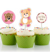 Baby Welcome Cute Teddy Cup Cake Topper  - Pack of 12