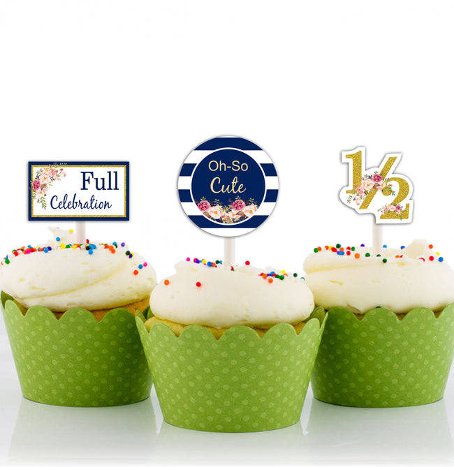 """Half Birthday"" - CUP CAKE TOPPER BIRTHDAY DECORATION (Pack of 12)"