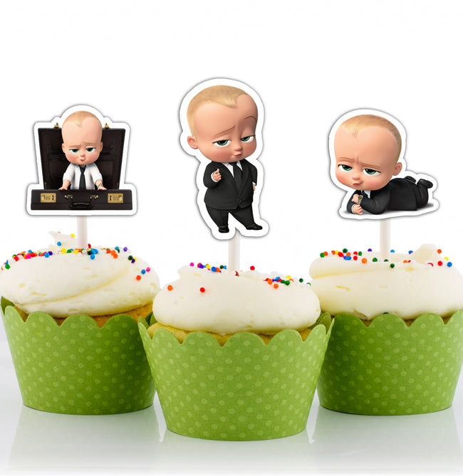 Boss Baby CUP CAKE TOPPER BIRTHDAY DECORATION (Pack of 12)