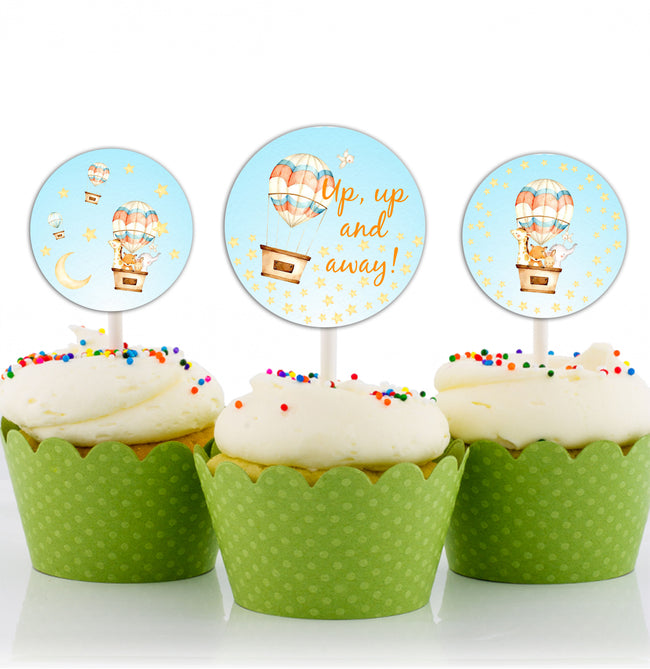 Up Up And Away - Hot Air CUP CAKE TOPPER BIRTHDAY DECORATION (Pack of 12)