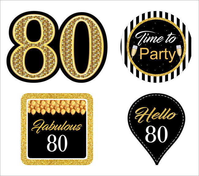 80th Milestone CUP CAKE TOPPER BIRTHDAY DECORATION (Pack of 12)