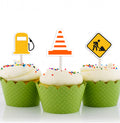 Construction Cup Cake TOPPER BIRTHDAY DECORATION - Pack of 12