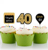 40TH MILESTONE CUP CAKE TOPPER BIRTHDAY DECORATION (PACK OF 12)