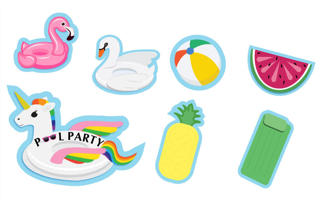 Splish Splash Pool Pary Cut Out Pack for birthday decoration - Pack of 7