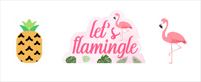 """Let's Flamingle"" Cutouts  Pack for birthday decoration - Pack of 3"