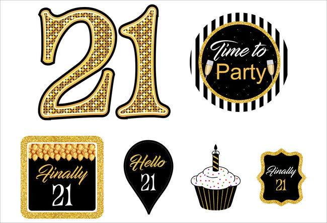 21st Milestone Cutout  Pack for Birthday decoration - Pack of 6