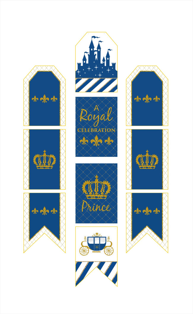 """CROWN PRINCE""-BOYS HANGING VERTICAL PAPER DOOR BANNERS  BIRTHDAY PARTY WALL DECORATION KIT"