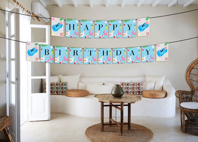 Splish Splash Pool Party Banner for birthday decoration I Happy Birthday Banner