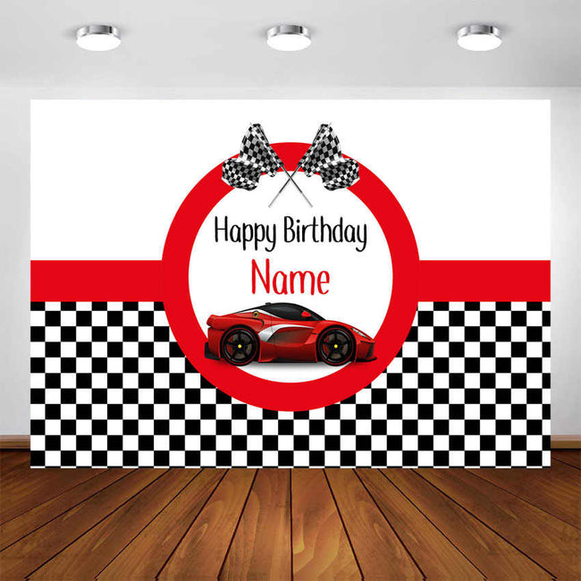 "Personalized Racing Car -""READY SET GO "" Birthday Photo Party Backdrop"