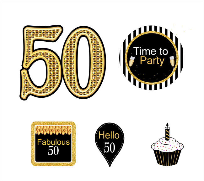 50th Milestone Theme Hanging Set for decoration - Set of 10