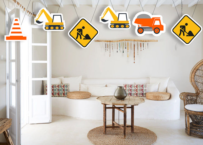 Construction Theme Hanging Set for decoration - Set of 12