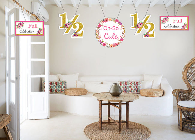"""1/2 Birthday"" - Theme Hanging Set for decoration - Set of 12"