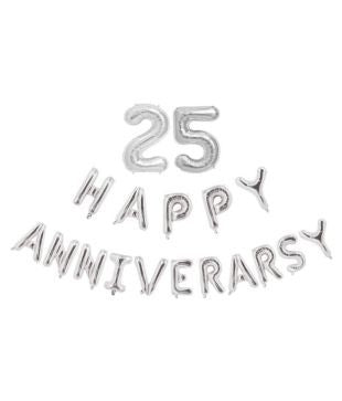 25th Anniversary combo -Happy Anniversary Letter Silver Foil Balloon + 25 Number Balloon