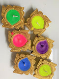 Designer Diya Colourful Earthen Designer Diye Decorative Diwali Candle Wax (Pack of 6)