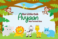 """""""Personalize Jungle"""" Boy Birthday Party Backdrop For Photography Banner Kids Event Cake Table Decor Home Decoration Photo Booth Background"""