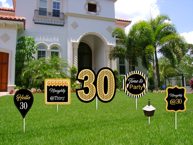 30th Milestone Cutout  Pack for Birthday decoration - Pack of 6