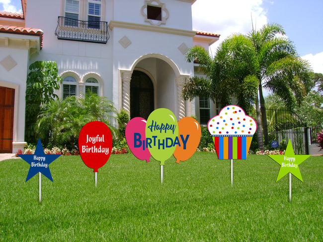 Joyful Cutout  Pack for Birthday decoration - Pack of 5