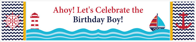 Nautical-Ahoy Banner for Wall Decoration, Cake Area, Entrance - Perfect for Birthday Party