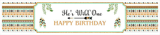 """Wild One"" Theme Long Banner for Wall Decoration, Cake Area, Entrance - Perfect for Birthday Parties"