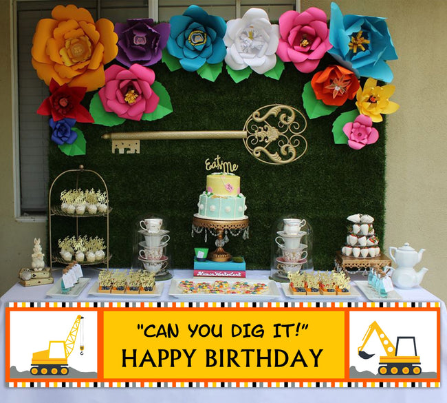 Construction Long Banner For Wall Decoration, Cake Area, Entrance - Perfect For Birthday Parties
