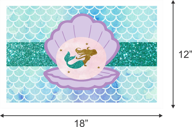 """Little Mermaid""- Girls Birthday Table Mats (Pack Of 6)"